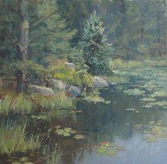 Bullfrog Serenade by Kathleen Dunphy Oil ~ 12 x 12