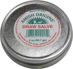All Natural Draw Salve - Amish Origins - The draw salve is for splinters, sores, bee stings, foreign objects embedded in the skin, and skin irritations. Ingredients: Draw Salve, 100% all natural Draw Salve, Plantain, Comfrey Root, Bees Wax, Oil of Camphor, Wintergreen, Eucalyptus, Pine oil.