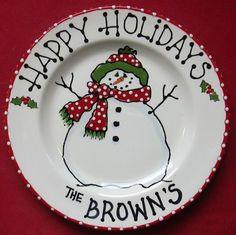10 Snowman Plate cookies for santa santa by BrushStrokePlates
