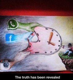 """The truth has been revealed"" Social media art #timesuck"