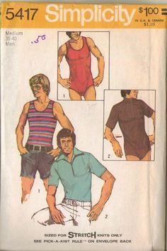 Simplicity Sewing Pattern 5417 Vintage 70s Mod Men's Tank Bodysuit  A favorite treasure he will appreciate.