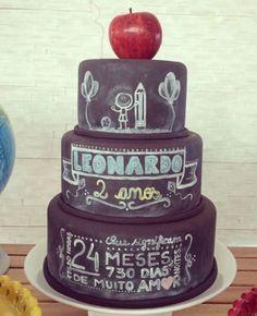 chalkboard festa infantil - Pesquisa Google: Bolo Chalkboard, Naked Cake, Eat Cake, Cake Decorating, Picnic, Birthday Cake, Desserts, Bolo Fake, Food