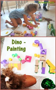 Dinosaurs Large Scale Art Project for Preschoolers. Paleontologists Pretend Play: Engineering a Dinosaur using Foam Blocks