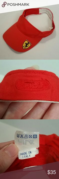 NEW LISTING--Ferrari visor by Fila Any Ferrari fan will recognize this brand! Purchased at the US Formula 1 Grand Prix in either 2002 or 2003 in Indianapolis when Fila was a Ferrari sponsor and the incomparable Michael Schumacher and Rubens Barrichello lead the Ferrari team. Very good condition--very minor signs of wear on the sweat band and a small dark spot under the bill as shown in the last pic. Elastic band in back for fitting is in perfect condition. Perfect for the Ferrari fan in your…