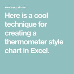 Here is a cool technique for creating a thermometer style chart in Excel.