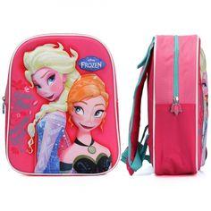 Disney Frozen rugzak 3D Elsa en Anna. Roze Frozen rugzak met 3D opdruk van Elsa en Anna. Formaat is ongeveer 31 x 27 x 10 centimeter.