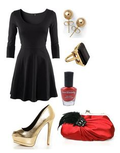 Christmas Look, Simple black dress from H&M, Shoes from LuLuss and random accessories to take this look to a new level. My favorite is the clutch (: