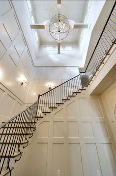 image only Entry Stairs, Staircase Railings, Entry Hallway, House Stairs, Staircase Design, Stairways, Iron Railings, Entryway, Luxury Interior Design