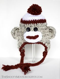the snooty mouse: sock monkey hat newborn photo prop