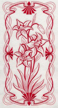 A beautiful Art Nouveau panel in redwork. Hungarian Embroidery, Folk Embroidery, Embroidery Stitches, Embroidery Patterns, Motifs Art Nouveau, Art Nouveau Design, Wood Burning Patterns, Parchment Craft, Free Machine Embroidery Designs