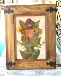 Real Pressed Flowers Gold and Orange Pansies in 5 x 7 Rustic Wooden Frame by FlowerFelicity