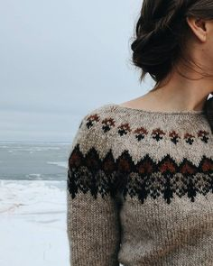 This sweater is now up on our Etsy shop (link in bio!) 💙 Handknit with Icelandic wool using my folkloric inspired pattern (sadly not… - Fair Isle Knitting, Hand Knitting, Knitting Patterns, Icelandic Sweaters, Wool Sweaters, Ropa Upcycling, Fair Isle Pullover, Pulls, Knitwear