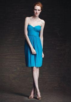 Blue Beach Sweetheart Neckline Chiffon Satin Column Bridesmaid Dresses