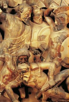 Etruscan warriors, a pediment decoration at Pyrgi, the port of Cervetery, ca.550 BCE | National Etruscan Museum, Rome