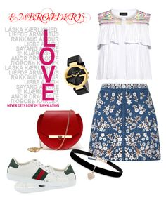 """""""Emboridery"""" by egaemgyu on Polyvore featuring Saloni, Needle & Thread, Gucci, Angela Valentine Handbags, Betsey Johnson and embroidery"""