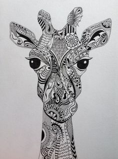 Decorative Giraffe illustration drawn by myself. Pen and ink on high quality paper at A4 size