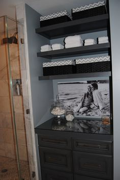 Remodel Bathroom Linen Closet take the door off your bathroom linen closet for a chic and open