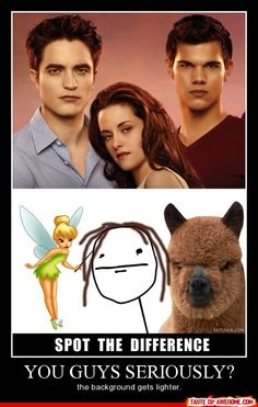 Twilight spot the difference. Kirsten Stewart, Taylor Lautner, Robert Pattison. All the same. Must be the background. BAHAHA goofy-stuff