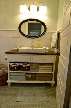 Image Gallery For Website Roundup DIY Sinks and Vanities and a Tub and Shower Too This one looks like a dresser with the two bottom drawers removed