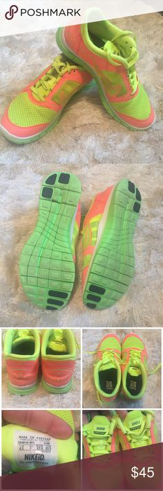 """•custom• NIKEid Free Run Gently used. Some wear from normal walking - never actually ran in these ones.   The right shoe has a mark on the Nike sign (see pic).   The tongues say """"bomb shell""""   Colors are neon pink/yellow and green   No box  No trades/holds Nike Shoes Athletic Shoes"""