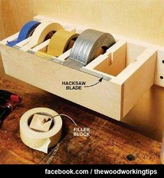 I wonder if this would keep the tape in one place and I wouldn't to go looking for it in husbands shop  More Woodworking Projects on http://www.woodworkerz.com
