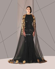 b437dbba89d Black Arabic Muslim Evening Dresses Tulle Cloak Gold And Black Sequins Crew  Neck 2016 Plus Size Mermaid Formal Wear Long Pageant Prom Dress Long Black  ...