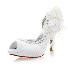 4890b33f27ec19 2 les chaussures de mariage chaussures de fleurs des femmes satin talon  aiguille sandales peep toe