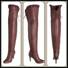 Report Over-the-Knee Ruffle Boot A supple leather upper go above the knee and end in a sweet ruffle and flirty little bit of corset lacing on the back. An almost full-length covered zipper makes it easier to get these endless beauties on and off. This Report boot's unembellished sleek look will pair gorgeously with almost anything in your wardrobe. I have also tried these one with an outfit an folded the top over to cuff below my knee. PRICE IS FIRM UNLESS BUNDLED; NO TRADES. Report Shoes