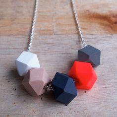Hot Lips Geo Pop necklace by fruitloopjewellery on Etsy