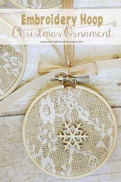 Embroidery Hoop - Handmade Christmas Ornaments