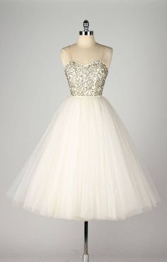 Vintage 1950s Emma Domb Sequins Tulle Dress
