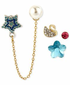Betsey Johnson Antique Gold-Tone Swan and Star Stud Earring Set