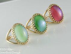 Green moonstone ringPink Purple Moonstone by EndoraJewellery, $26.00