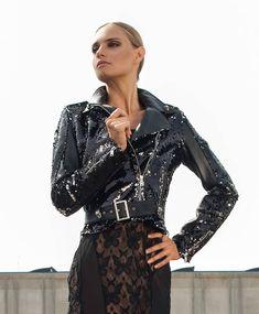 Pcube Biker's Jacket Paillettes Black - Fashion that Rocks Glitter Jacket, Lady Biker, Studs, Jackets, Color, Black, Women, Fashion, Glitter