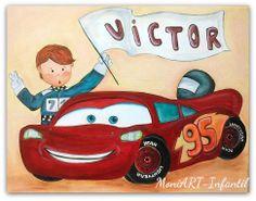"""Cuadro infantil """"Niño y coche de carreras"""" personalizado con el nombre. Medidas 50x40cm"""