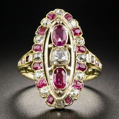 Victorian Ruby and Diamond Dinner Ring - Edwardian Jewelry - Vintage Jewelry Gold Jewelry For Sale, 24k Gold Jewelry, 1 Gram Gold Jewellery, Urban Jewelry, Gold Jewelry Simple, Gold Jewellery Design, Unique Jewelry, Jewellery Rings, Quartz Jewelry