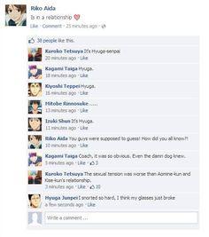 fb, kiyoshi, and riko image Anime Suggestions, Animes To Watch, Generation Of Miracles, Text Jokes, Kuroko Tetsuya, Shall We Date, Love And Basketball, Kuroko No Basket, Haikyuu