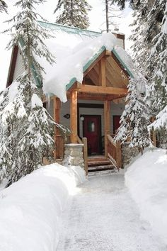 Tiny Snow-Covered Mountain Cabin vacation rental at Emerald Lake Lodge in Canada. | Tiny Homes