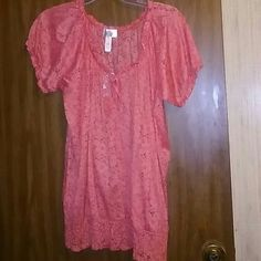 Coral Crochet Lace Peasant Top New  Never been worn Tops