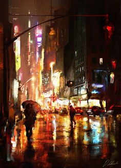 Kai Fine Art is an art website, shows painting and illustration works all over the world. City Art, City Painting, Painting Studio, Matte Painting, Studio Art, Painting Art, Urban Landscape, Abstract Landscape, Night Life