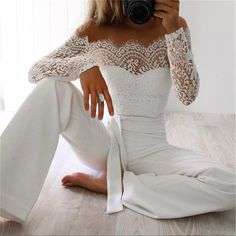 Fitted Prom Dresses, hirigin newest women lace floral white color long sleeve jumpsuit romper clubwear playsuit bodycon party trousers female Bey Love White Lace Jumpsuit, Backless Jumpsuit, White Long Sleeve Jumpsuit, Red Jumpsuit, Floral Jumpsuit, Fitted Jumpsuit, Long Sleeve Romper, Sparkly Jumpsuit, Jumpsuit Shorts