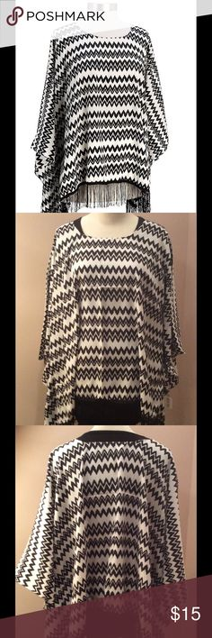 Chevron Poncho Lightweight Chevron Poncho Free Size with Fingles, 100% Polyester Sweaters Shrugs & Ponchos