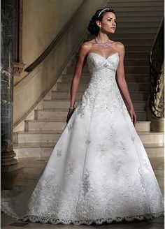Charming Satin A-line Sweetheart Neckline Wedding Dress With Beaded Lace Appliques