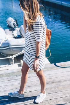 Cotton stripe dress new balance sneakers Prosecco & Plaid_-3