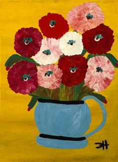 Zinnias in a Pot - Clementine Hunter  (Walter O. Evans Collection)