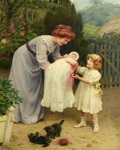 Mother & Girl with kittens playing Vintage repo. by bonnyjean691 Victorian Paintings, Victorian Art, Vintage Illustration, Art Ancien, Mother And Child, Beautiful Paintings, Love Art, Cat Art, Painting & Drawing