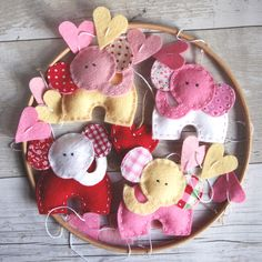 Lovely felt pink mobile with elephants and hearts, to brighten your baby's nursery.  From Etsy    https://www.etsy.com/uk/listing/261272890/baby-mobile-hanging-pink-felt-elephant #babygirl