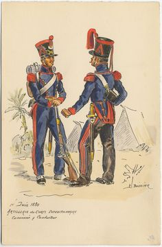 French; Expeditionary Corps Artillery, Gunner and Conductor, 1830(invasion of Algiers) by H. Boisselier