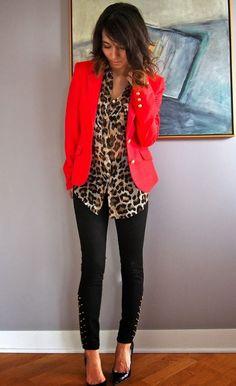 leopard   red   black skinnies office attire
