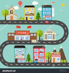 Small town urban landscape in flat design style vector illustration With small business buildings Building for kids Flat design illustration Urban landscape